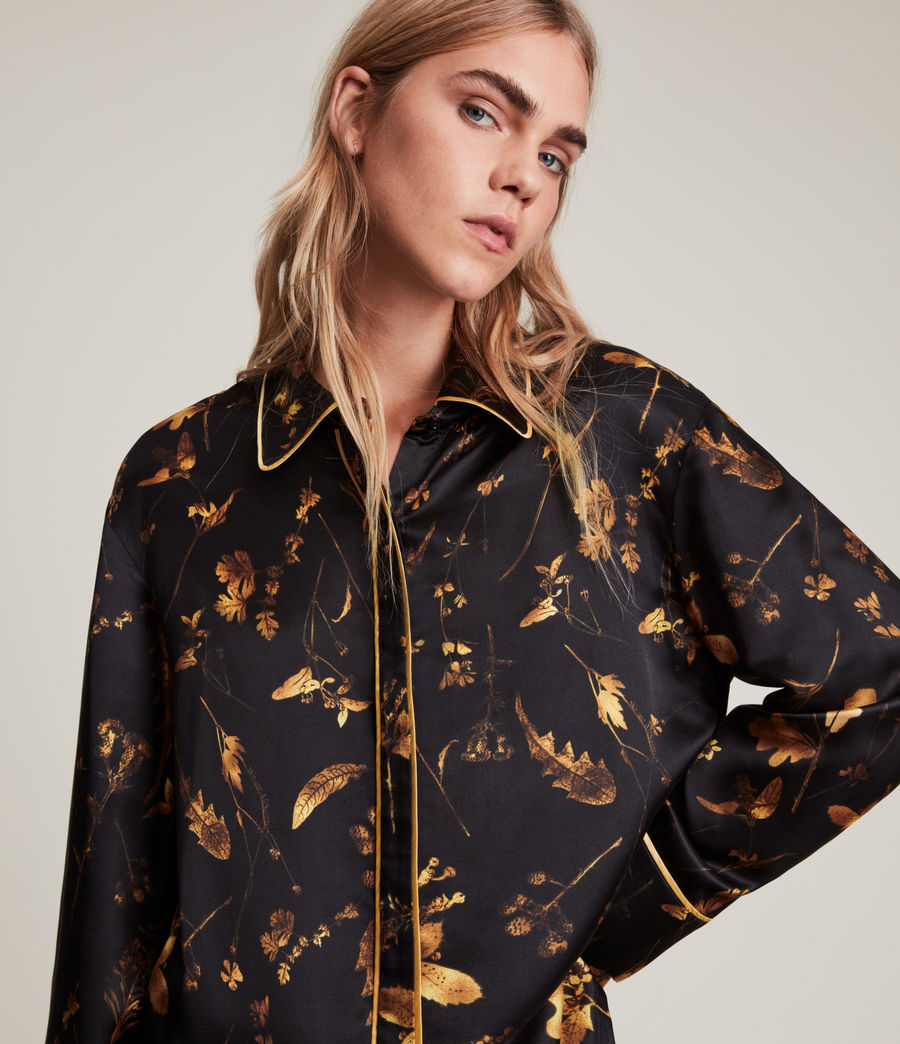 Womens Sofi Heligan Silk Blend Pyjama Top (black_gold) - Image 3