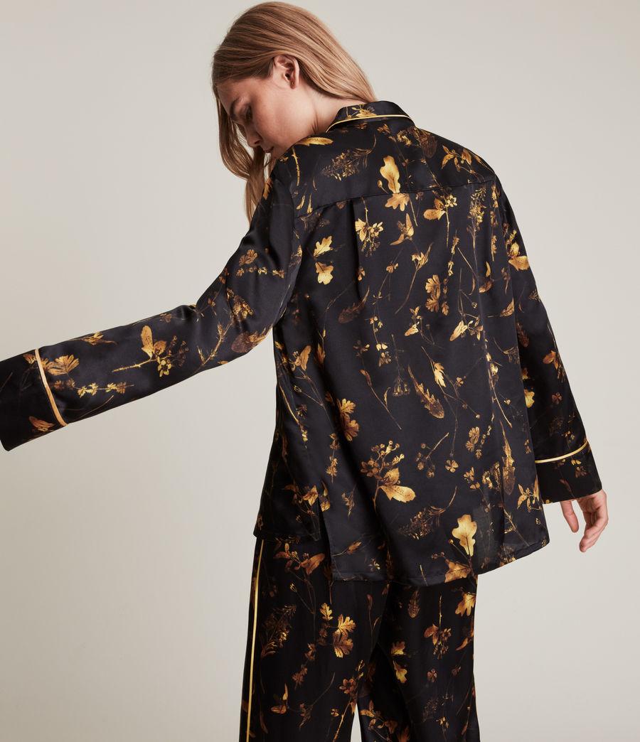 Womens Sofi Heligan Silk Blend Pyjama Top (black_gold) - Image 4