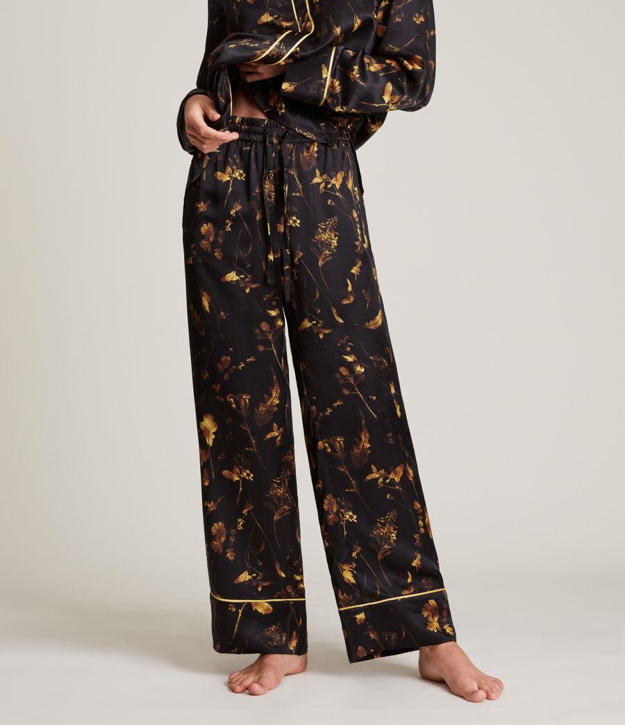 Women's Sofi Heligan Silk Blend Pyjama Trousers (black_gold) - Image 2