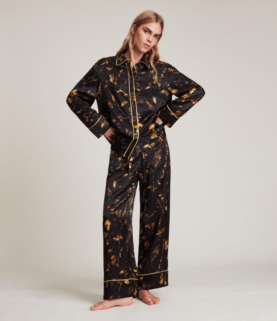 Women's Sofi Heligan Silk Blend Pyjama Trousers (black_gold) - Image 4