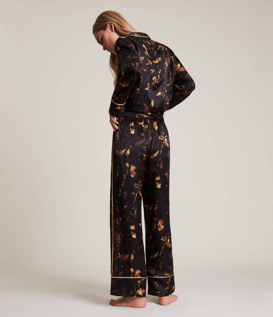 Women's Sofi Heligan Silk Blend Pyjama Trousers (black_gold) - Image 5