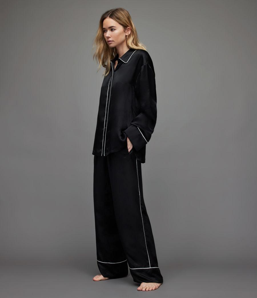 Womens Sofi Silk Blend Pyjama Top (black) - Image 1