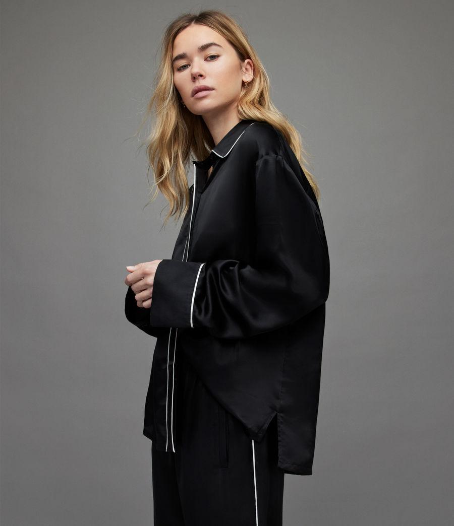Womens Sofi Silk Blend Pyjama Top (black) - Image 2