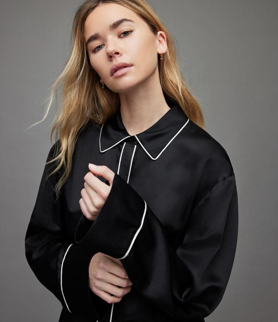 Womens Sofi Silk Blend Pyjama Top (black) - Image 3