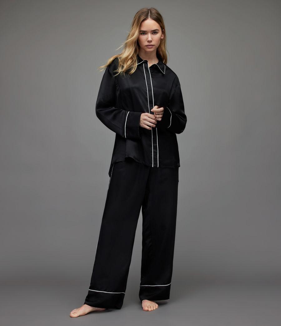Womens Sofi Silk Blend Pyjama Top (black) - Image 4
