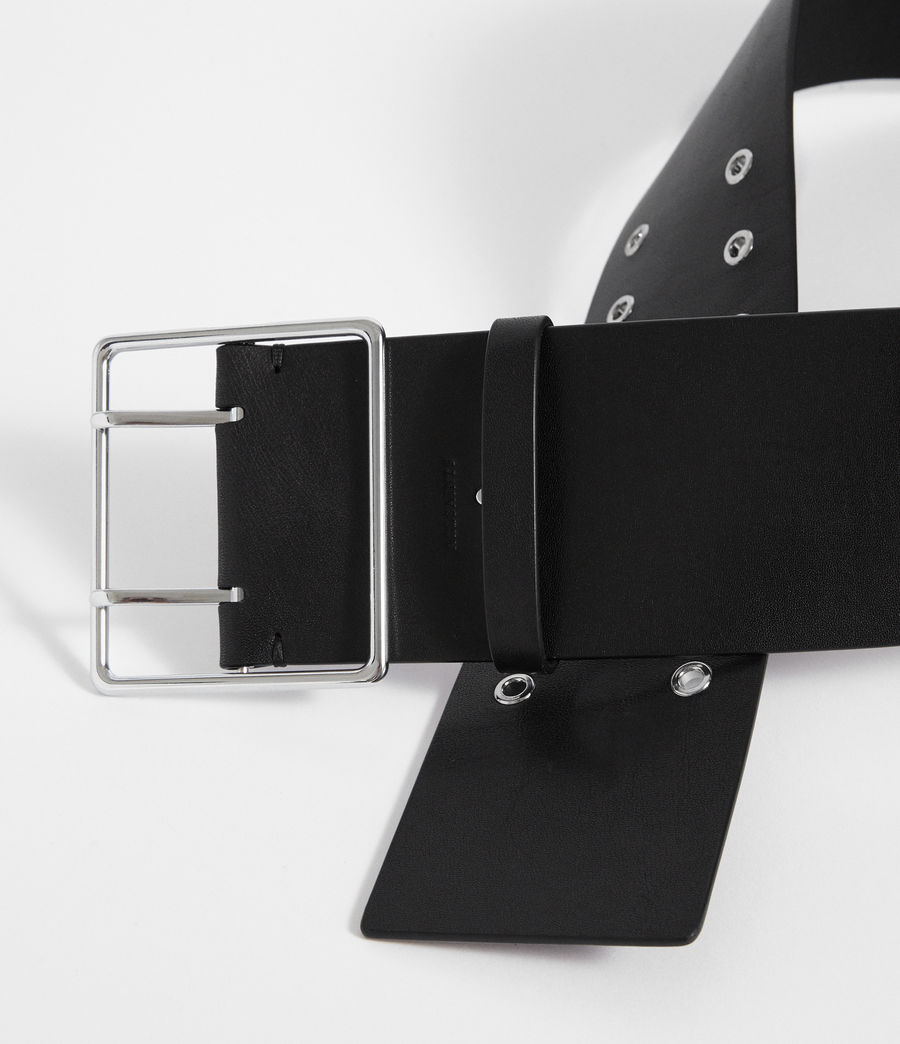 Womens Tatiana Leather Belt (black) - Image 5