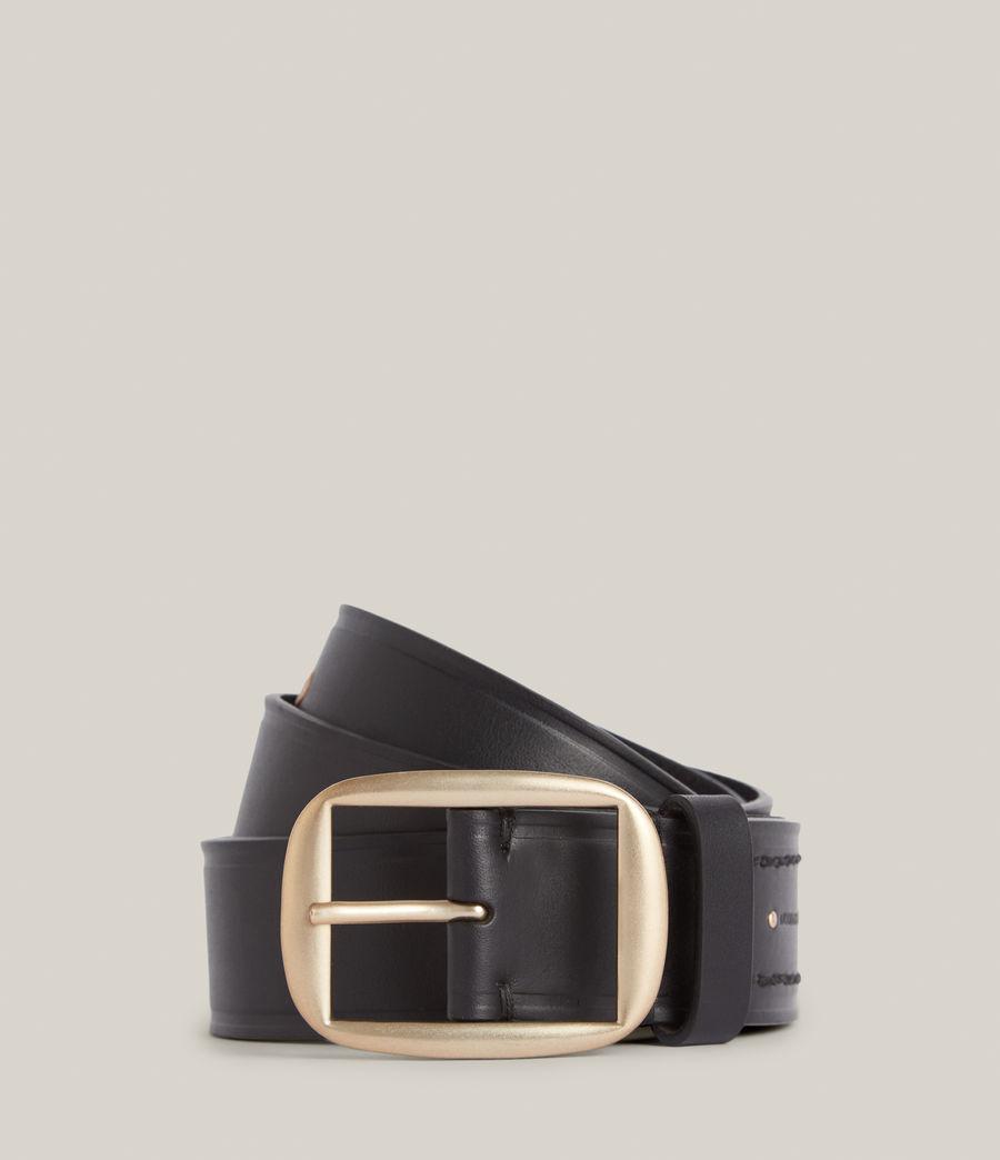 Women's Hazel Leather Belt (black_warm_brass) - Image 1