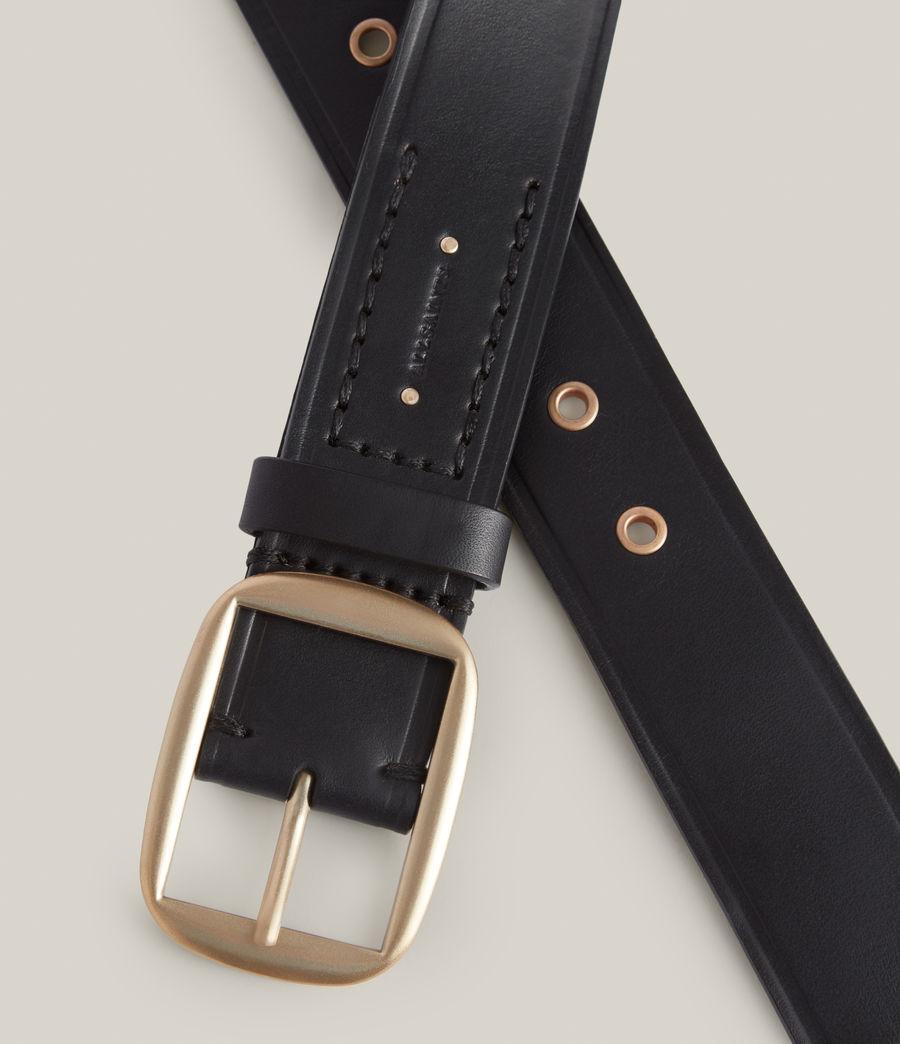 Women's Hazel Leather Belt (black_warm_brass) - Image 4