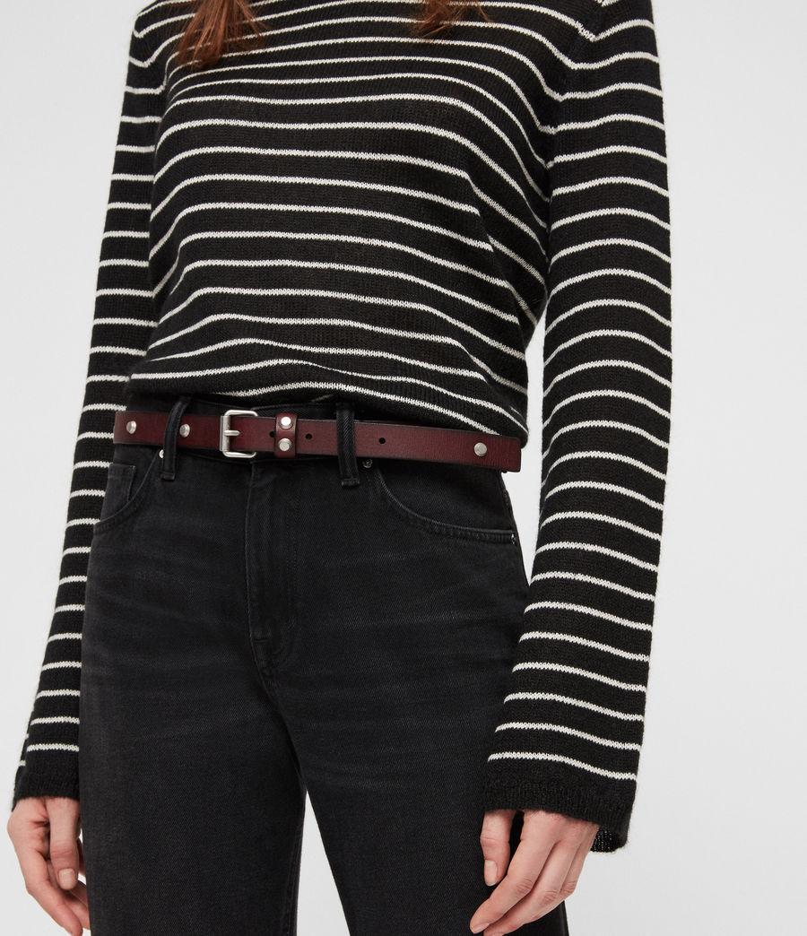 Women's Nadia Leather Belt (deep_plum) - Image 3