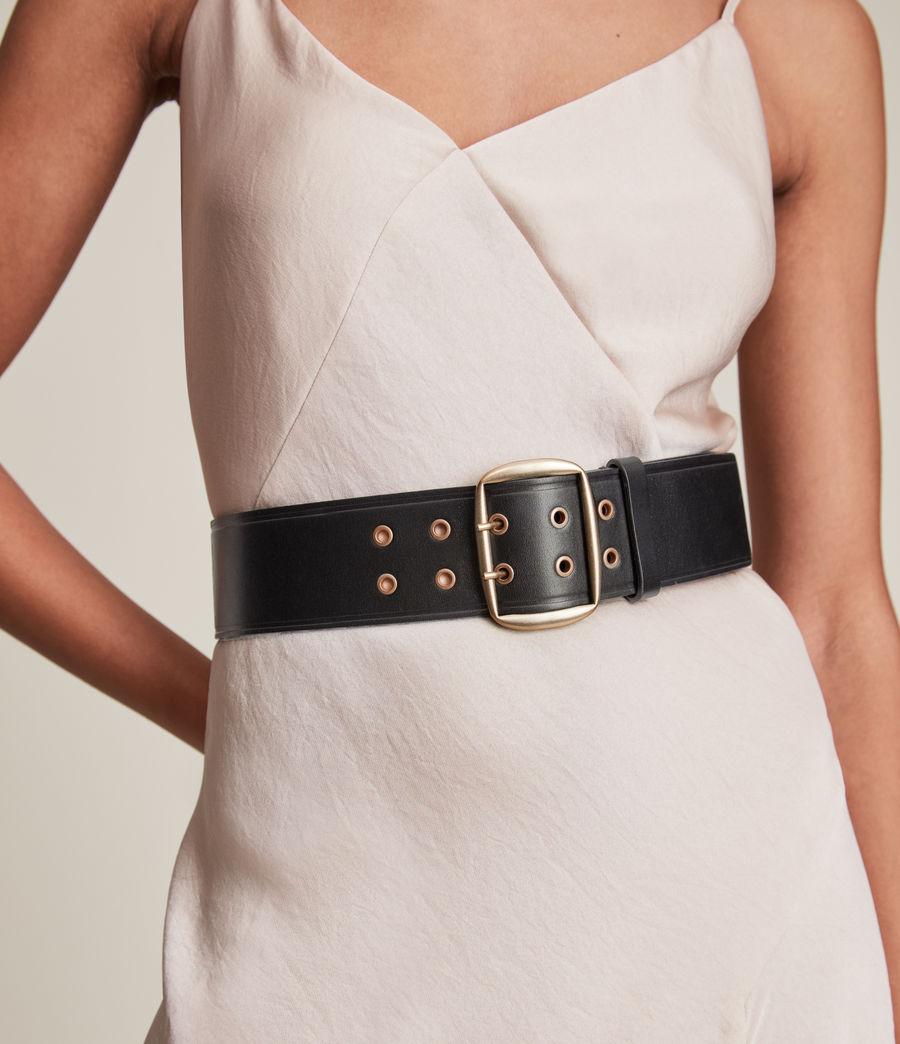 Women's Layla Leather Belt (black_warm_brass) - Image 2