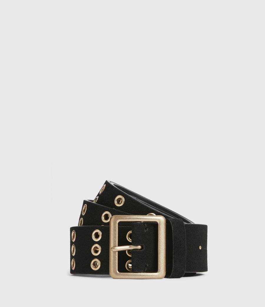 Womens Juniper Leather Belt (black_gold) - Image 1