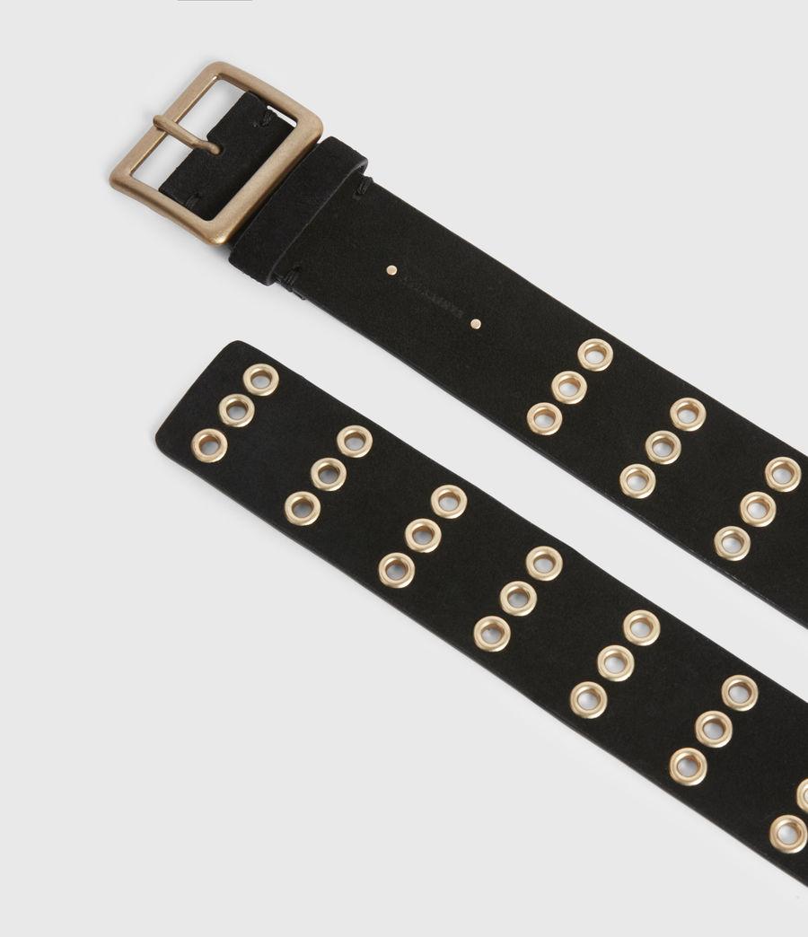 Womens Juniper Leather Belt (black_gold) - Image 2