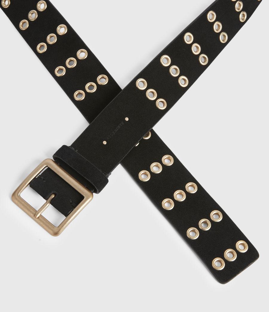 Womens Juniper Leather Belt (black_gold) - Image 3