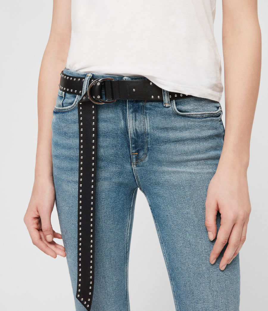 Women's Kira Studded Leather Belt (black) - Image 3