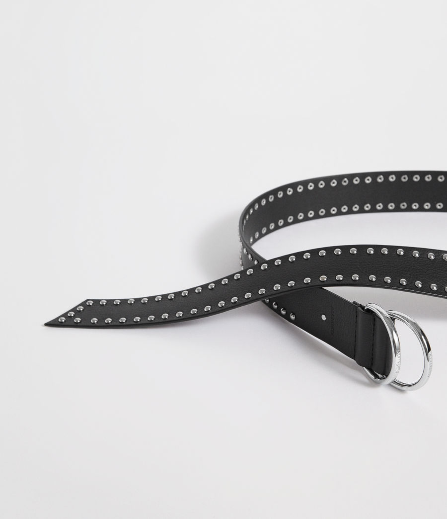 Women's Kira Studded Leather Belt (black) - Image 4