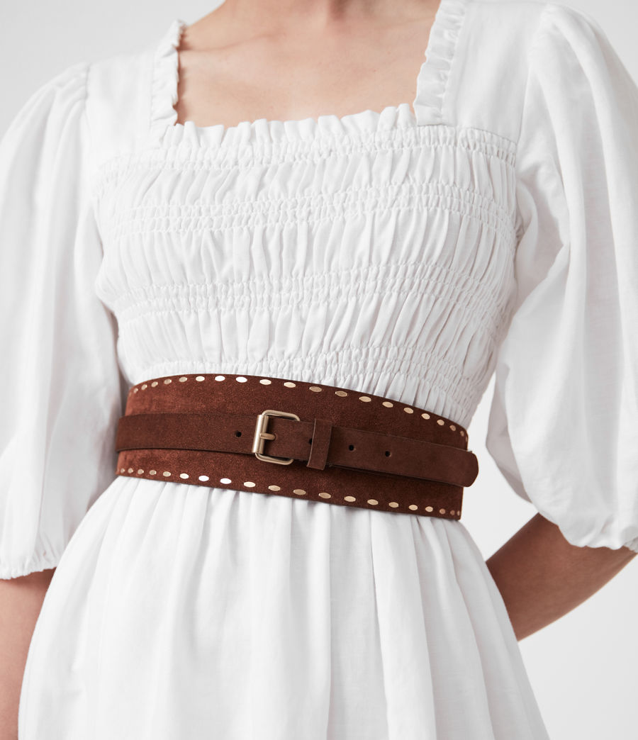 Women's Ava Leather Belt (brandy_brown) - Image 2