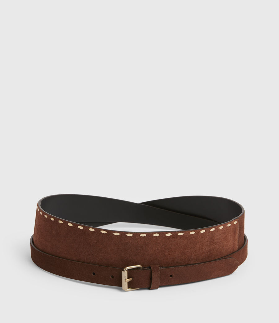 Women's Ava Leather Belt (brandy_brown) - Image 4