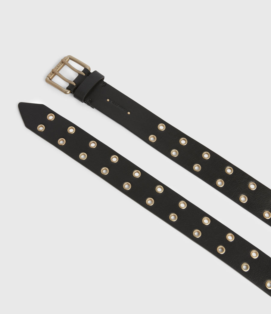 Womens Iryna Leather Wrap Belt (black_gold) - Image 2