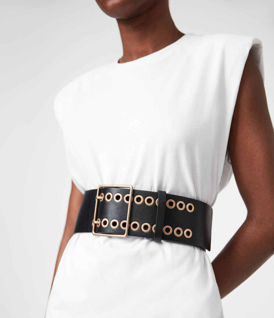 Womens Ella Leather Belt (black) - Image 4