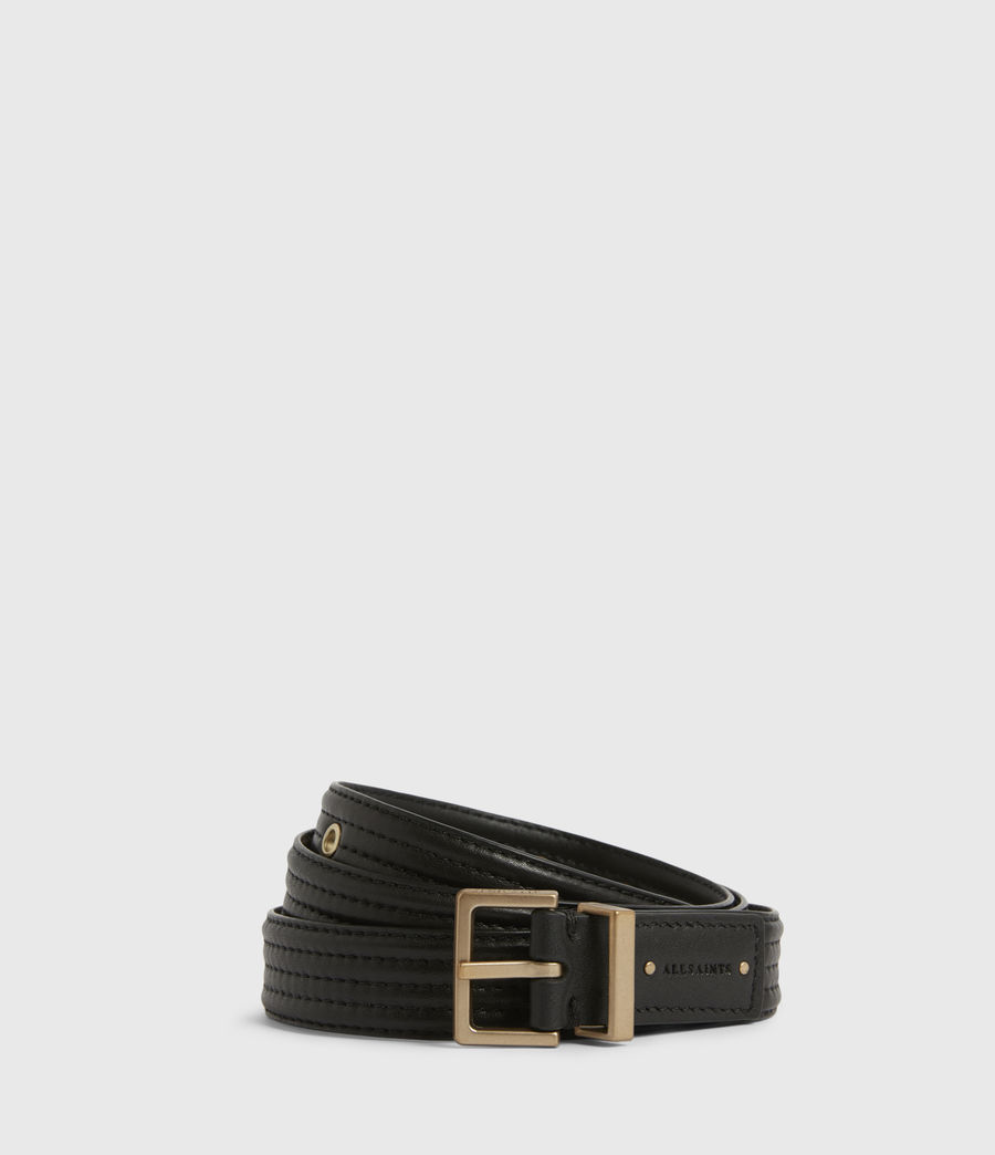 Womens Willow Skinny Leather Belt (black_gold) - Image 1