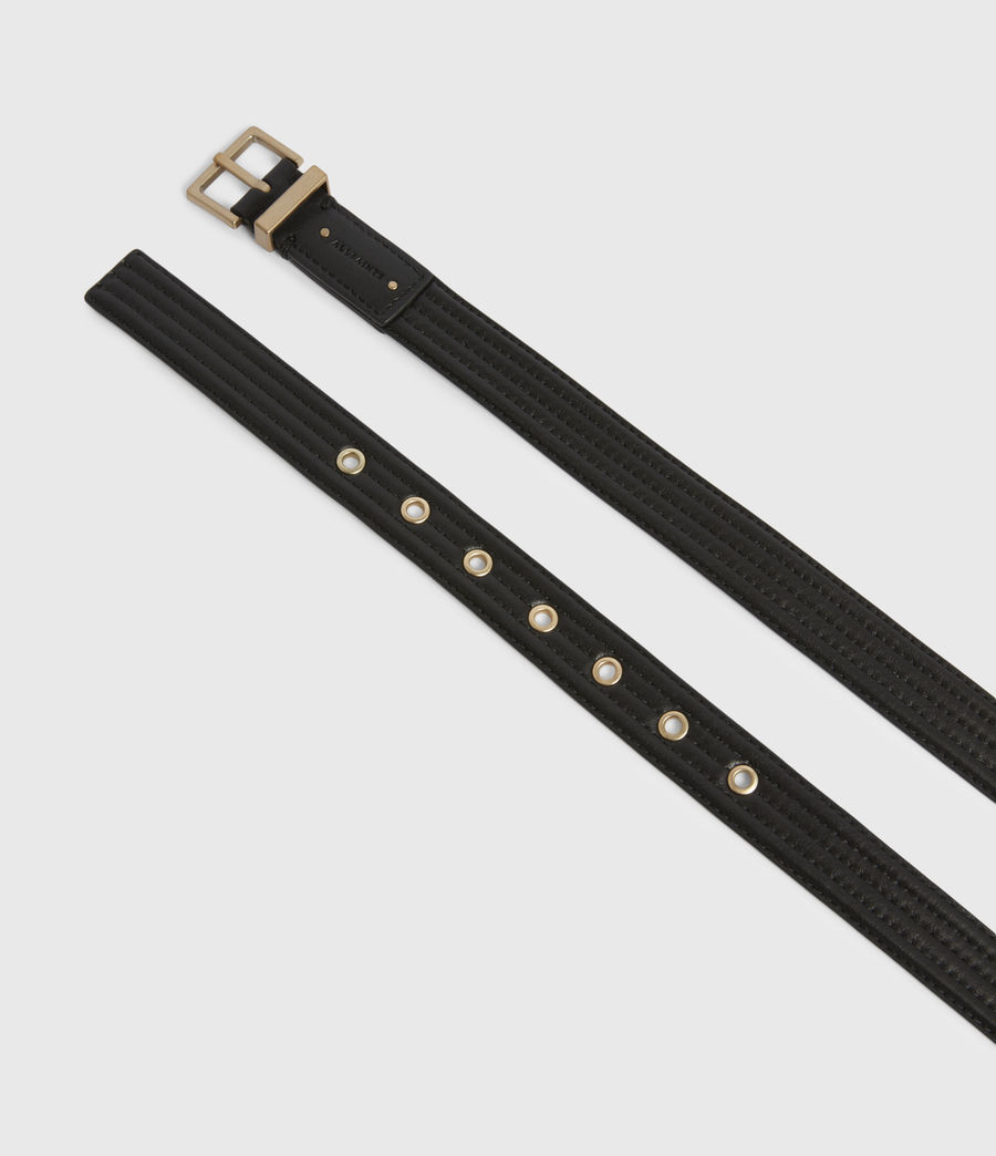 Womens Willow Skinny Leather Belt (black_gold) - Image 2