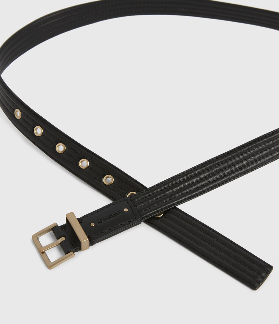 Womens Willow Skinny Leather Belt (black_gold) - Image 3