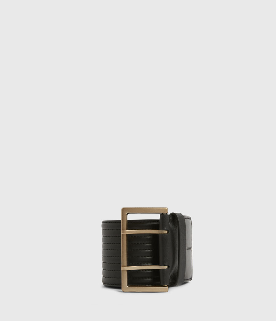 Womens Willow Wide Leather Belt (black_gold) - Image 1
