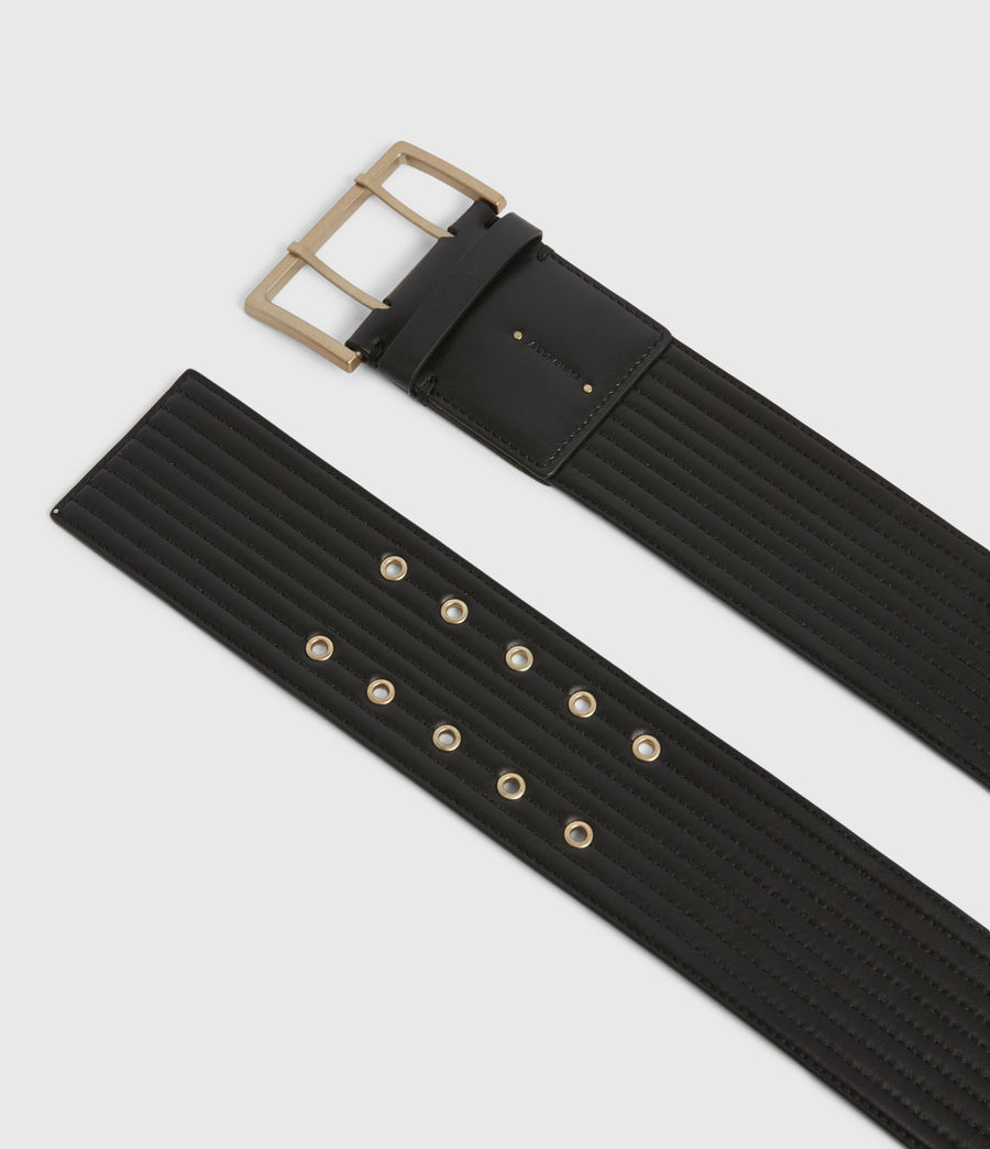 Womens Willow Wide Leather Belt (black_gold) - Image 2