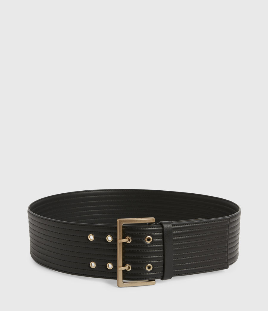 Womens Willow Wide Leather Belt (black_gold) - Image 4