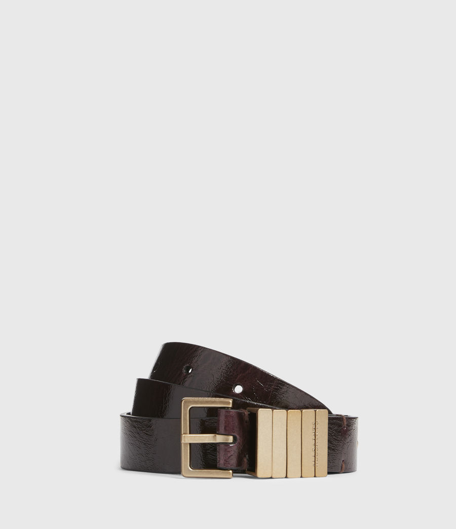 Womens Jet Skinny Leather Belt (oxblood_brown_gold) - Image 1