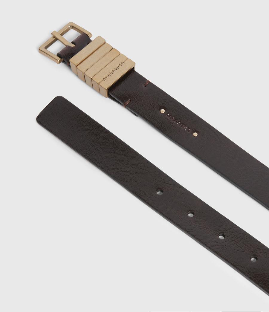 Womens Jet Skinny Leather Belt (oxblood_brown_gold) - Image 2