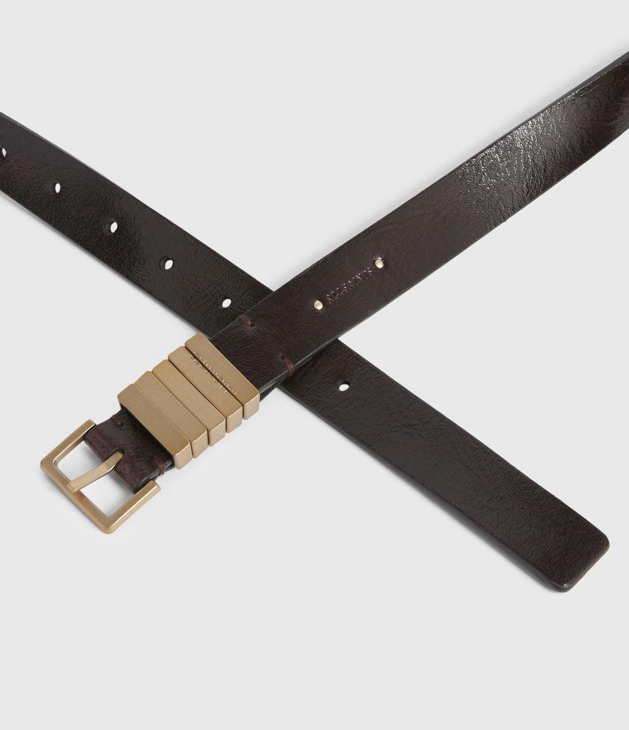 Womens Jet Skinny Leather Belt (oxblood_brown_gold) - Image 3