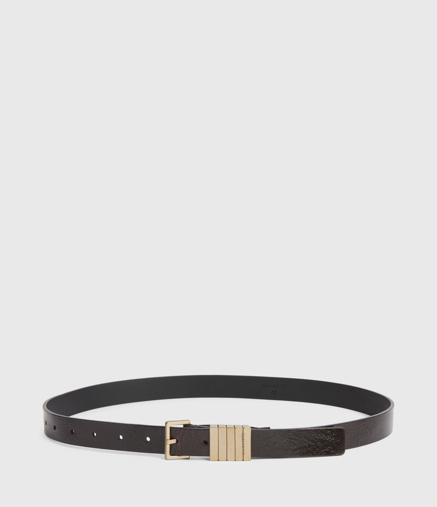Womens Jet Skinny Leather Belt (oxblood_brown_gold) - Image 4