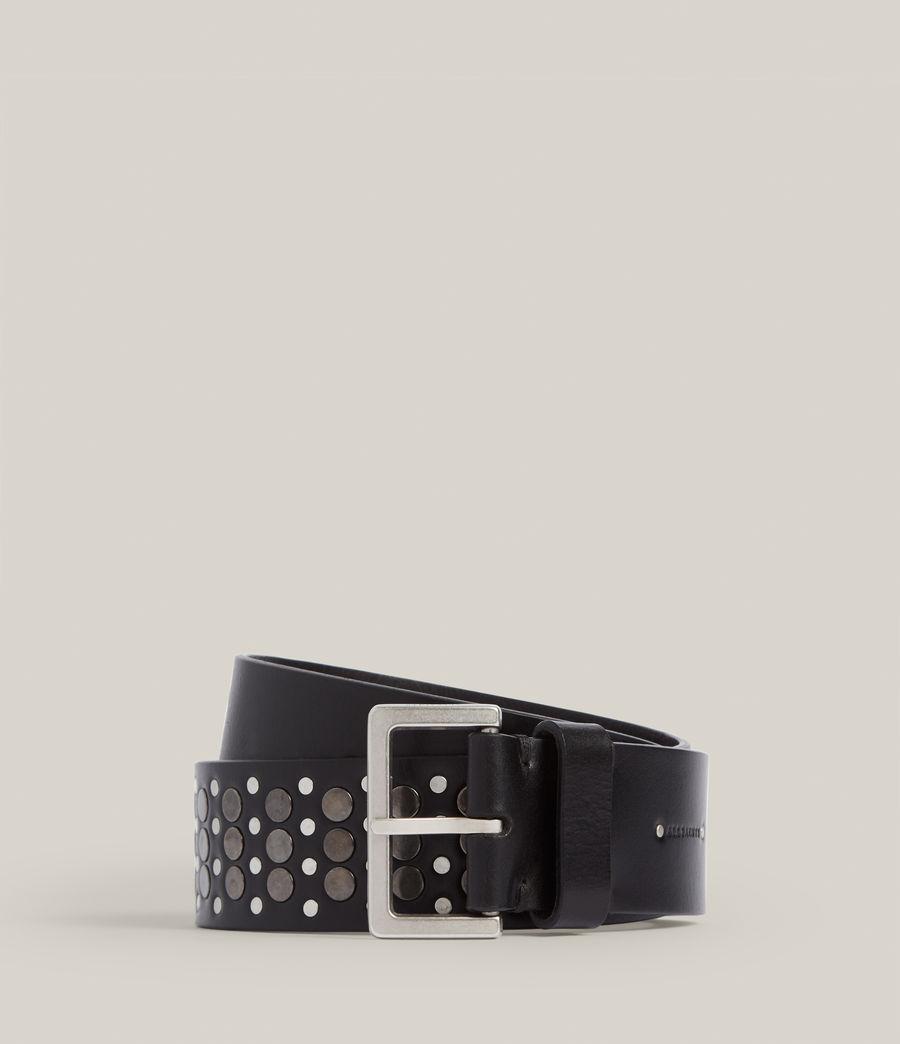 Women's Clara Leather Belt (black_gunmetal) - Image 1
