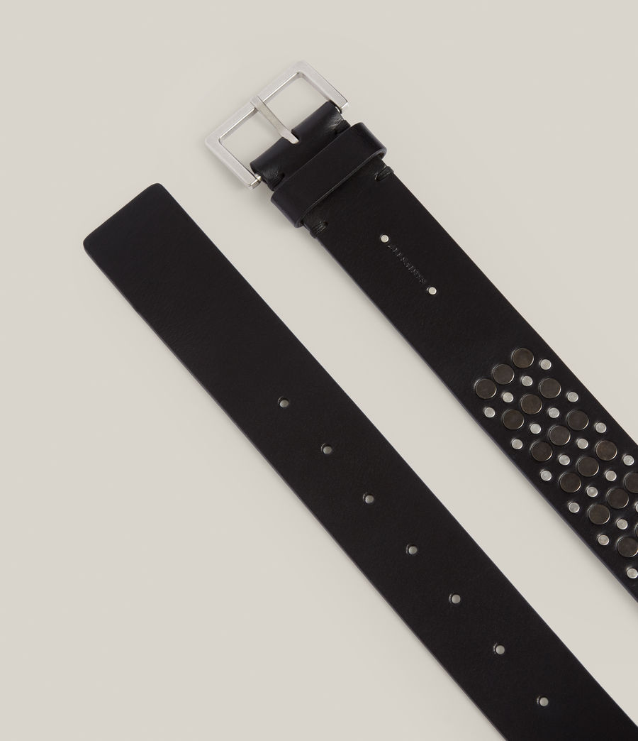 Women's Clara Leather Belt (black_gunmetal) - Image 2
