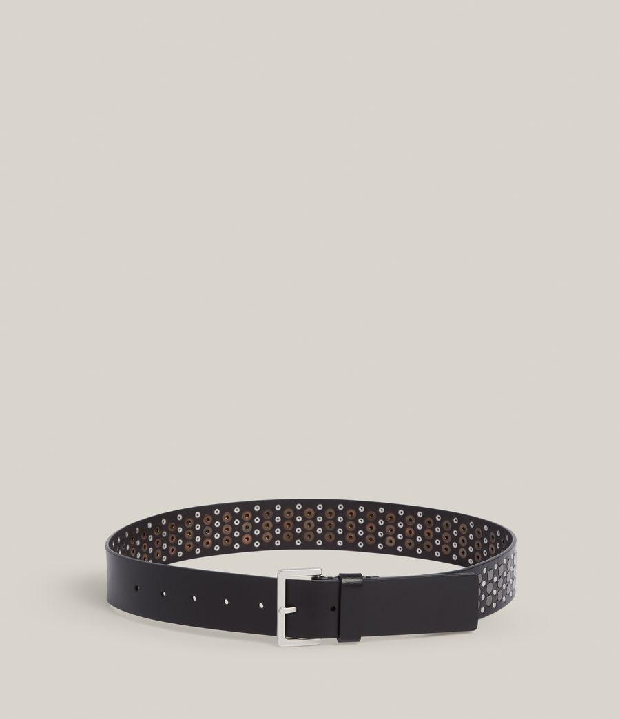 Women's Clara Leather Belt (black_gunmetal) - Image 4