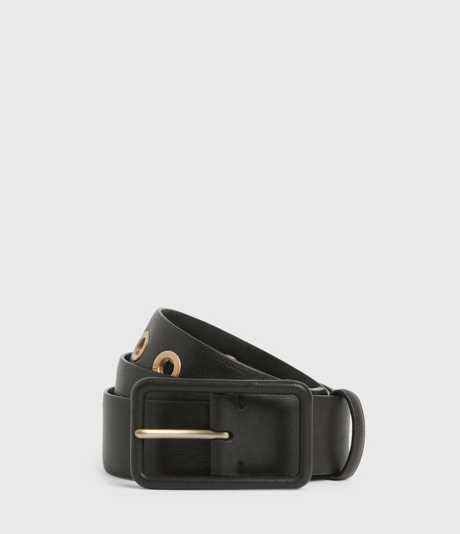 Women's Olivia Leather Belt (black_warm_brass) - Image 1