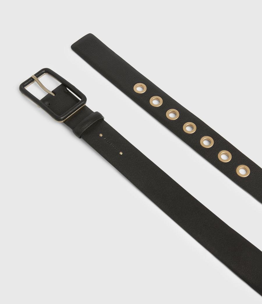 Women's Olivia Leather Belt (black_warm_brass) - Image 2