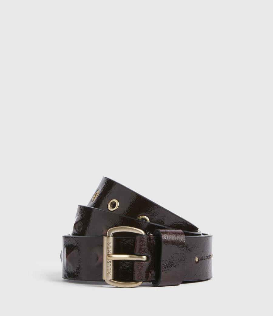Womens Lita Skinny Leather Belt (oxblood_brown_gold) - Image 1