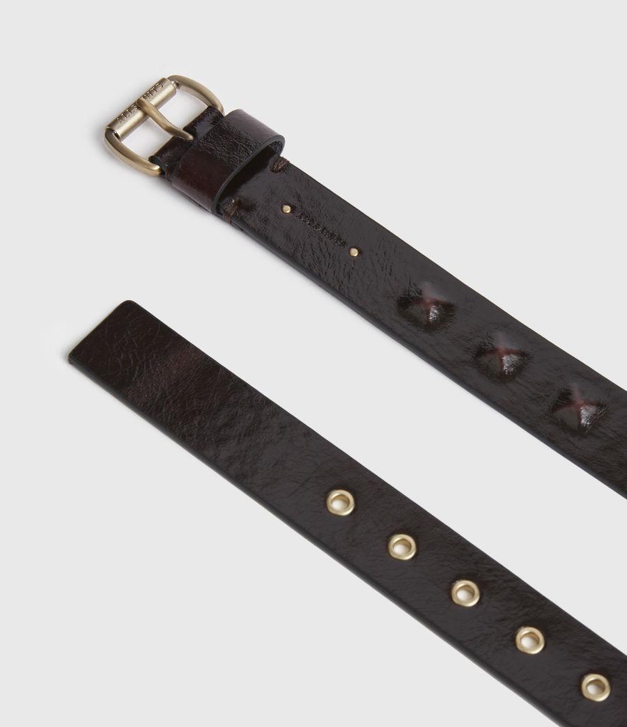 Womens Lita Skinny Leather Belt (oxblood_brown_gold) - Image 2
