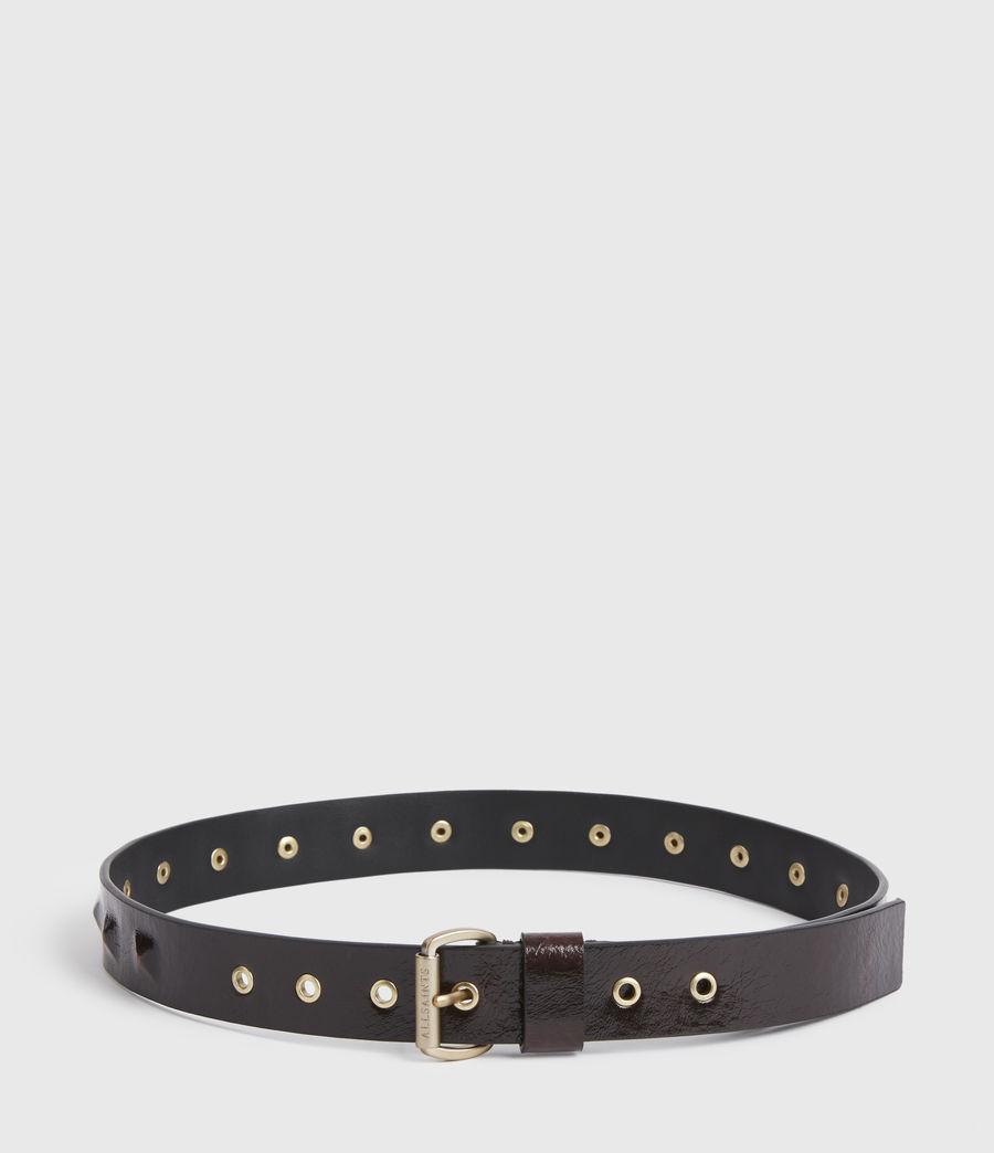 Womens Lita Skinny Leather Belt (oxblood_brown_gold) - Image 4