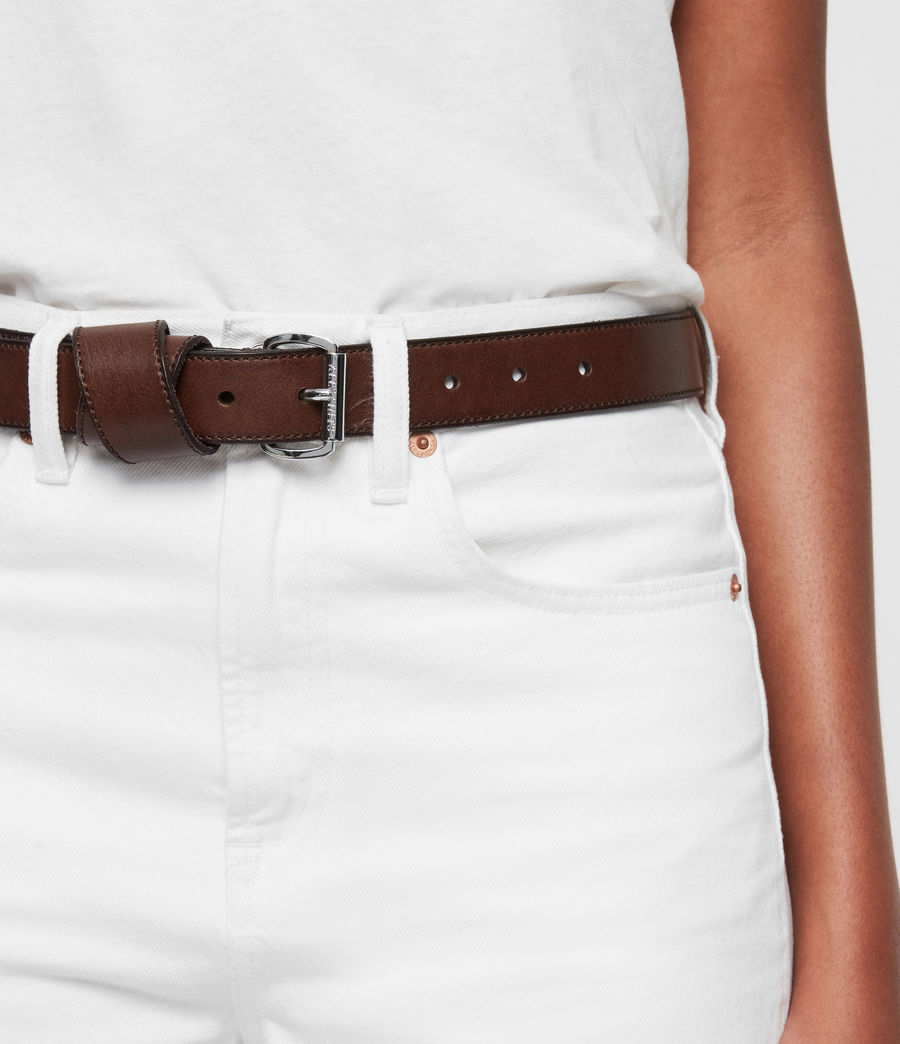 Womens Leonie Leather Belt (black) - Image 6