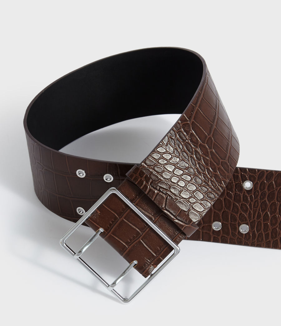 Womens Aline Crocodile Leather Belt (cognac) - Image 3
