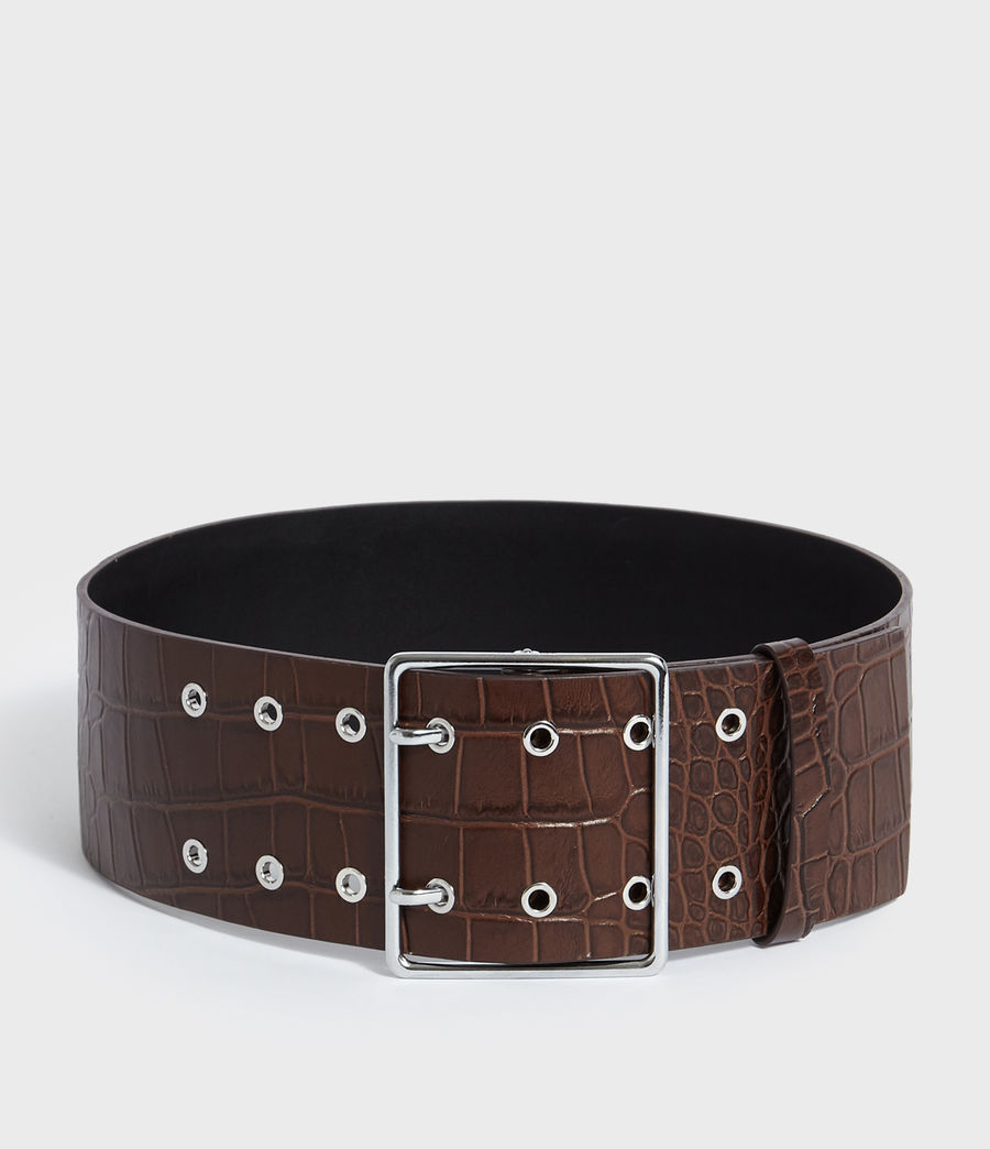 Womens Aline Crocodile Leather Belt (cognac) - Image 4