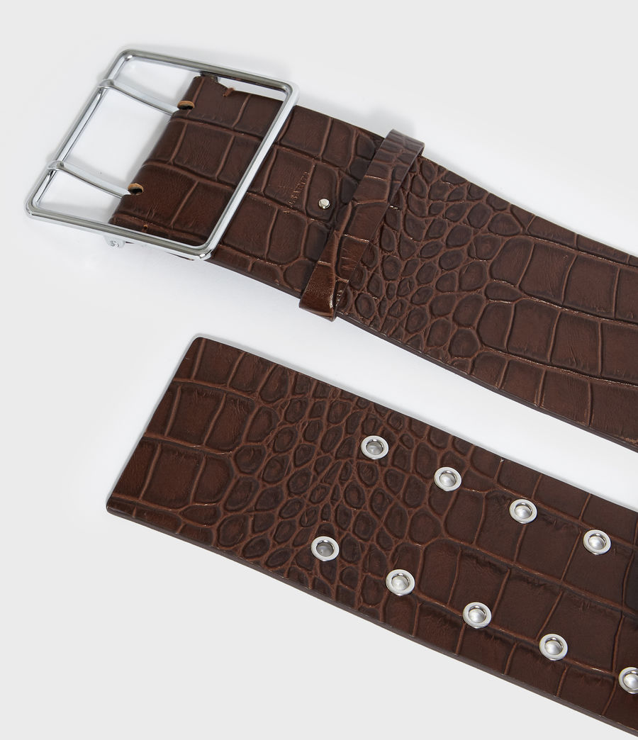 Womens Aline Crocodile Leather Belt (cognac) - Image 5