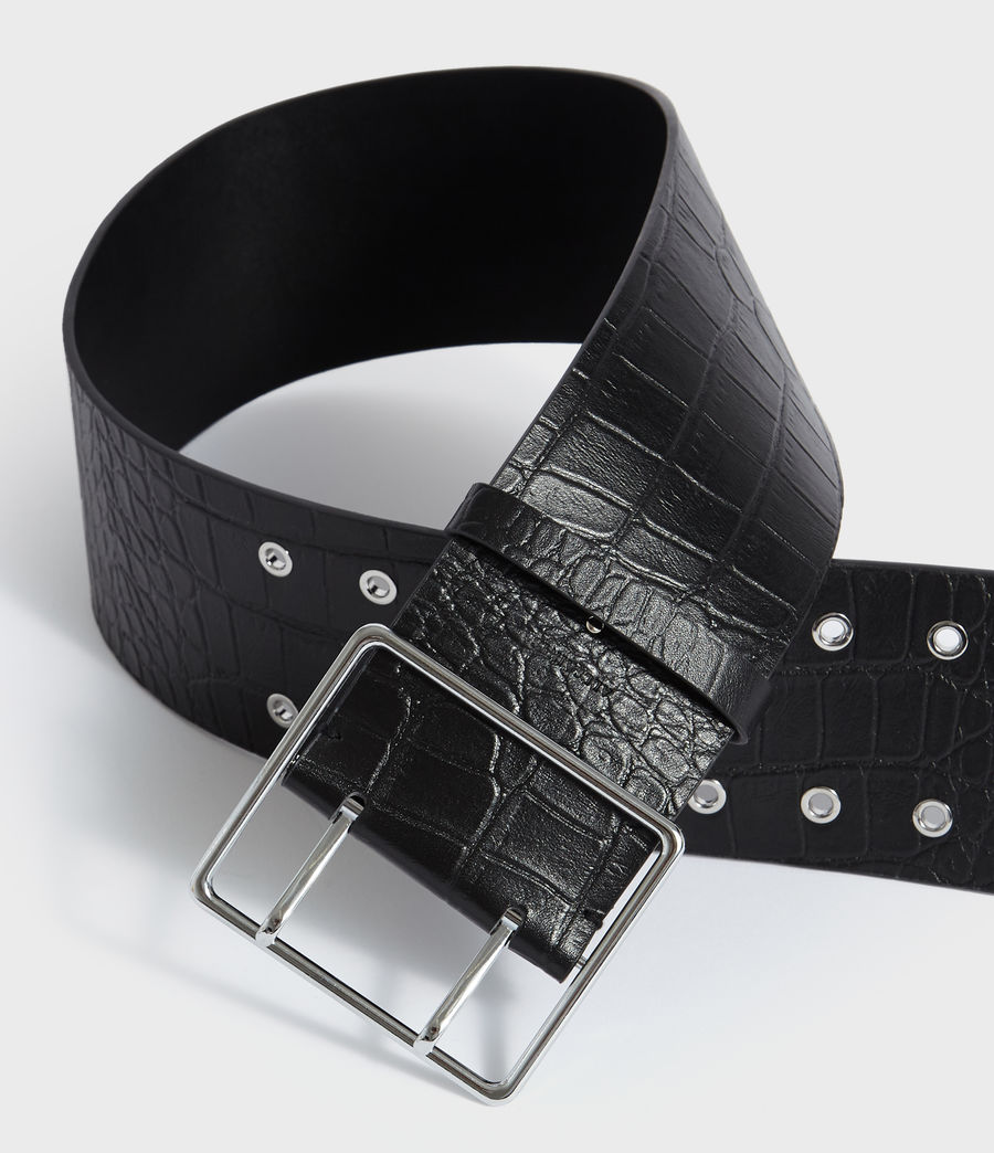 Womens Aline Crocodile Leather Belt (black) - Image 3