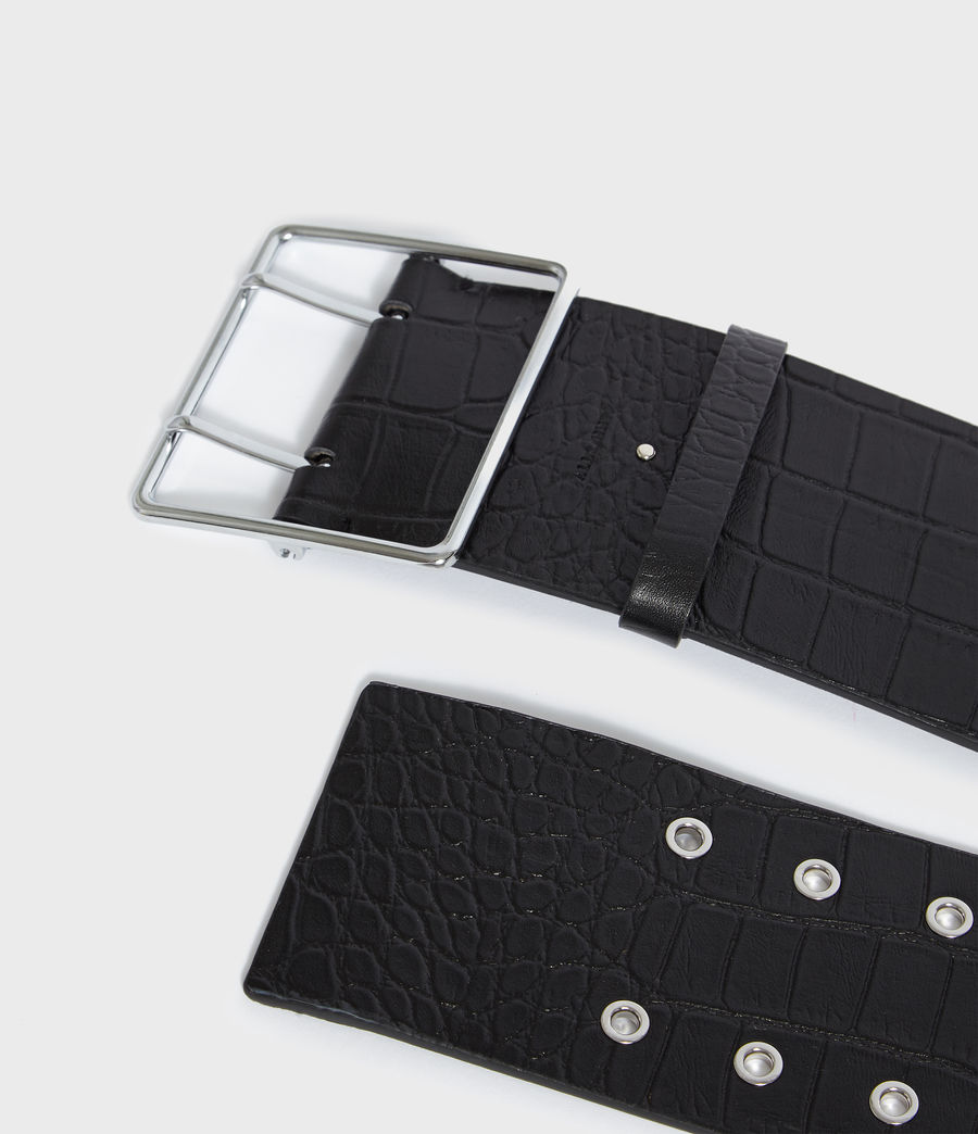Women's Aline Crocodile Leather Belt (black) - Image 5