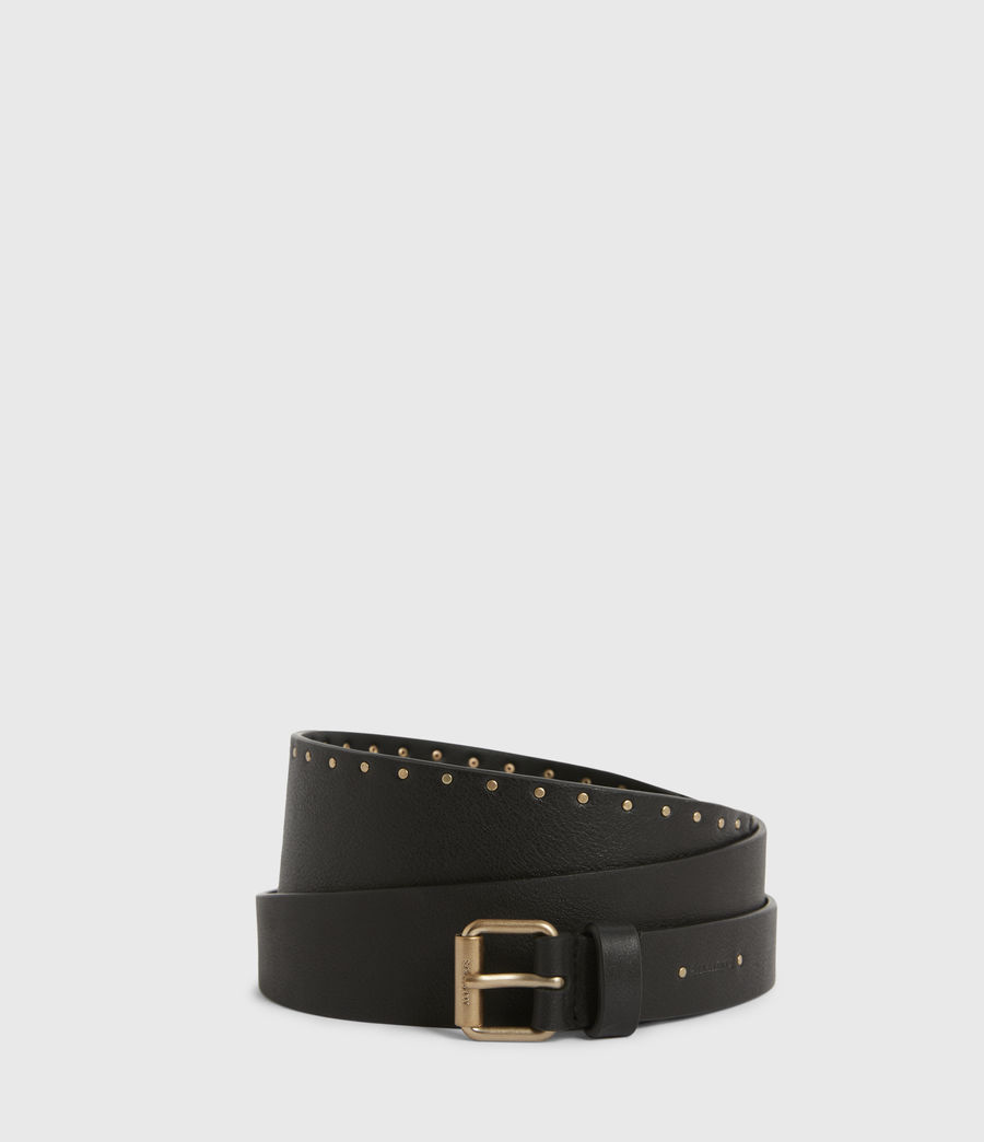 Womens Alcor Wide Leather Belt (black_gold) - Image 1