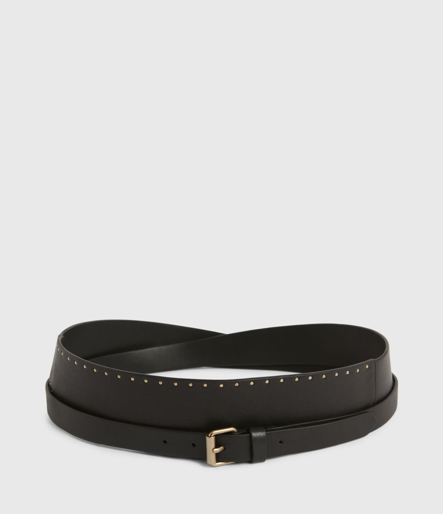Womens Alcor Wide Leather Belt (black_gold) - Image 4