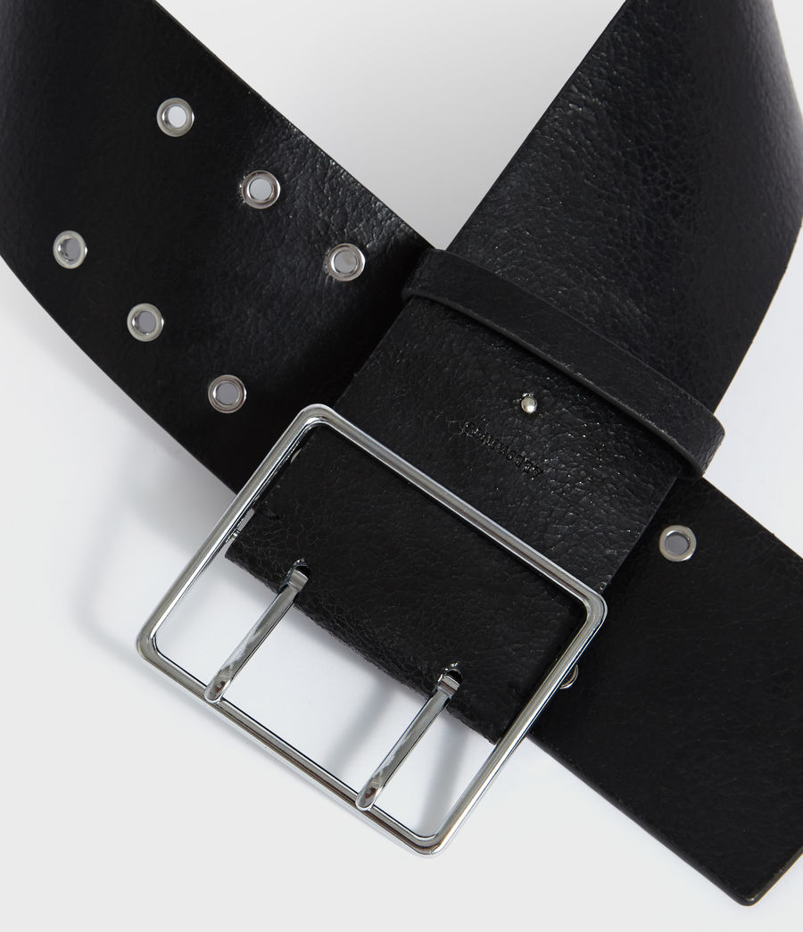 Womens Aline Leather Belt (black) - Image 3